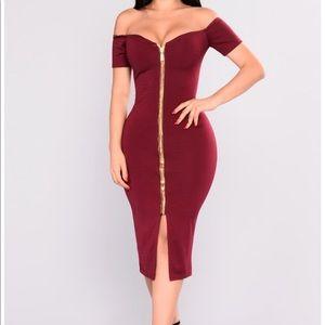 Wine Color Off Shoulder Dress